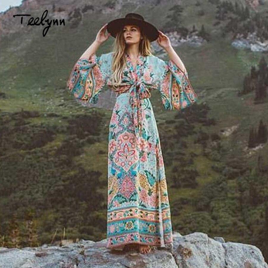 Boho 2 pz donne set kimono top e maxi pannello esterno in del pavone stampa floreale Kimono maniche fascetta 2018 hippie chic Della Boemia set