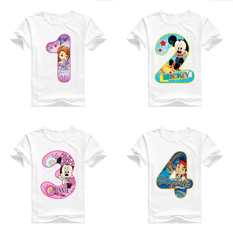 Baby Boy Tshirts Girl Happy Birthday Tees Cute Print Clothes Children T Shirt Round Neck