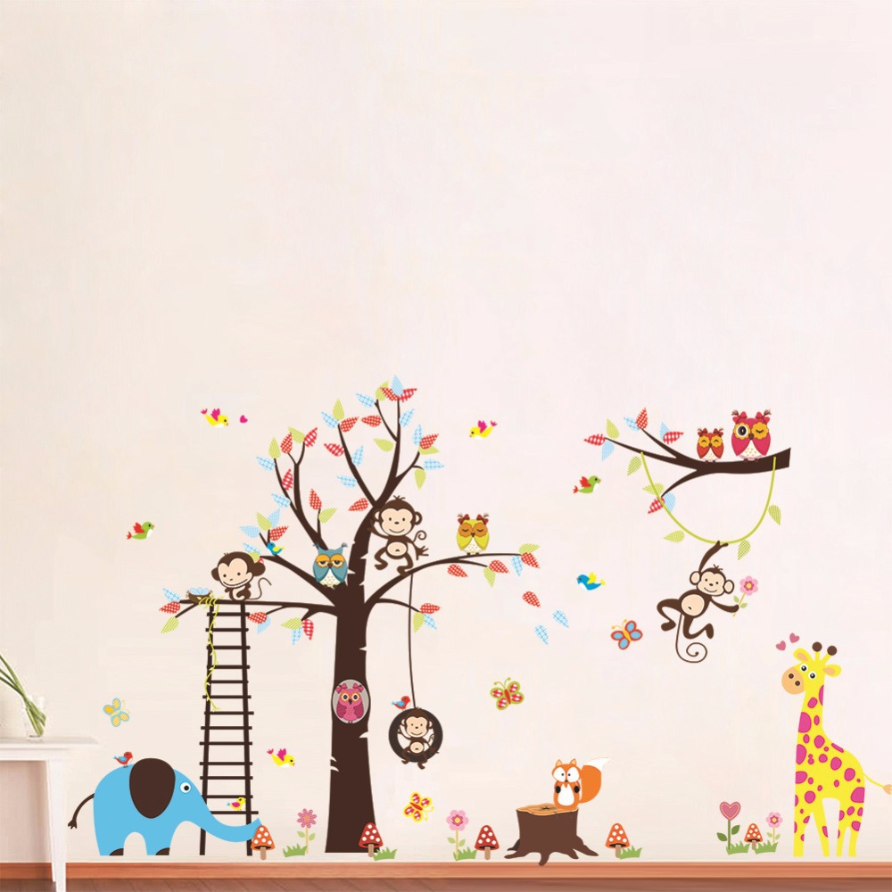 Monkey Giraffe Elephant Owl Animal Wall Sticker Wallpaper Baby Kids Rooms Decal Poster Home Decor Vinilo Parede Pegatina Adesivo In Stickers From