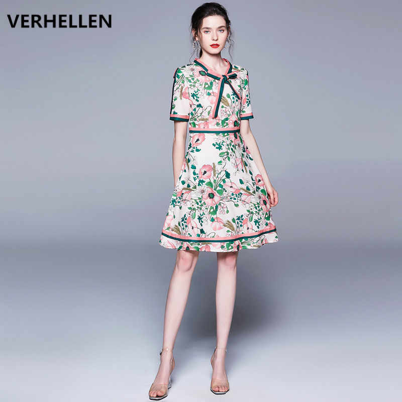 Yüksek Kalite Moda Tasarımcısı Pist Elbise 2019 Yaz kadın Kısa Kollu Yay Yaka Çiçek Baskı Vintage Zarif Elbise