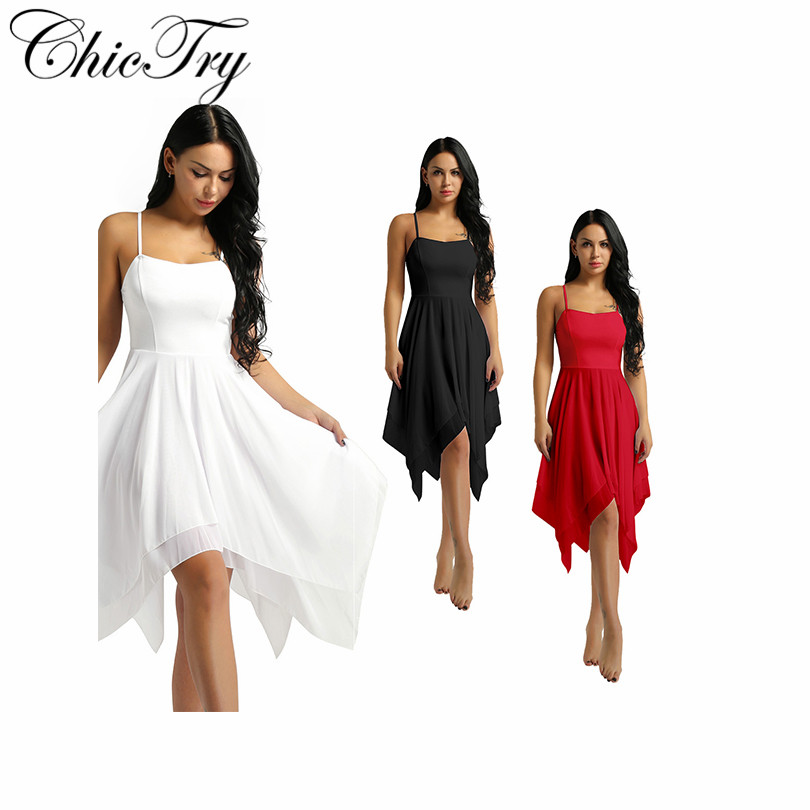 Elegant Women Adult Girls Spaghetti Strap Sleeveless Asymmetric Chiffon Solid Color Contemporary Dance Stage Performance Dress