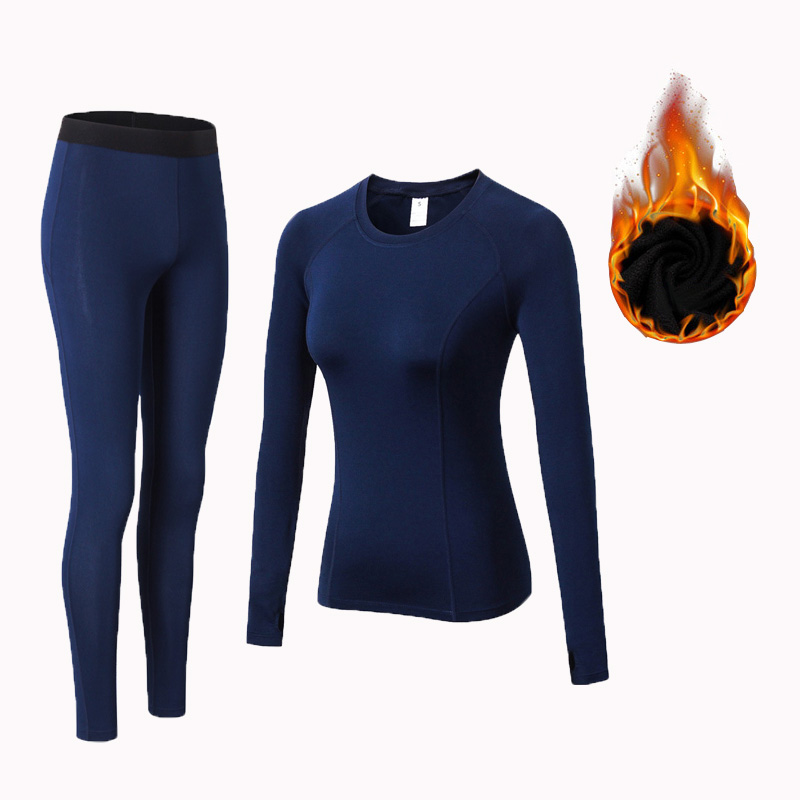 Winter Thermal Underwear Women Quick Dry Anti-microbial Stretch Plus velvet Thermo Underwear Sets Female Warm Long Johns