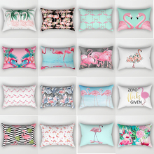 Hot sale tropical beauty flamingo pillow cases animal pillow cover men women rectangle pillow cases home pillow cover 50*30cm