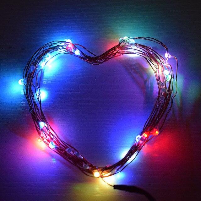 10 m koperdraad 7 kleur vakantie led verlichting kerst bruiloft decoratie 100 led usb zilveren draad