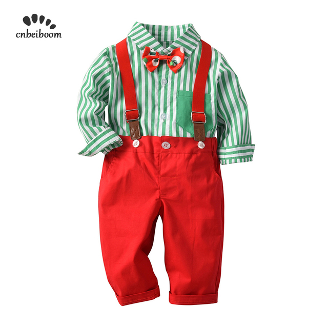 Baby Boys Christmas Clothing Set Red Green Toddler Kids Infant Boy