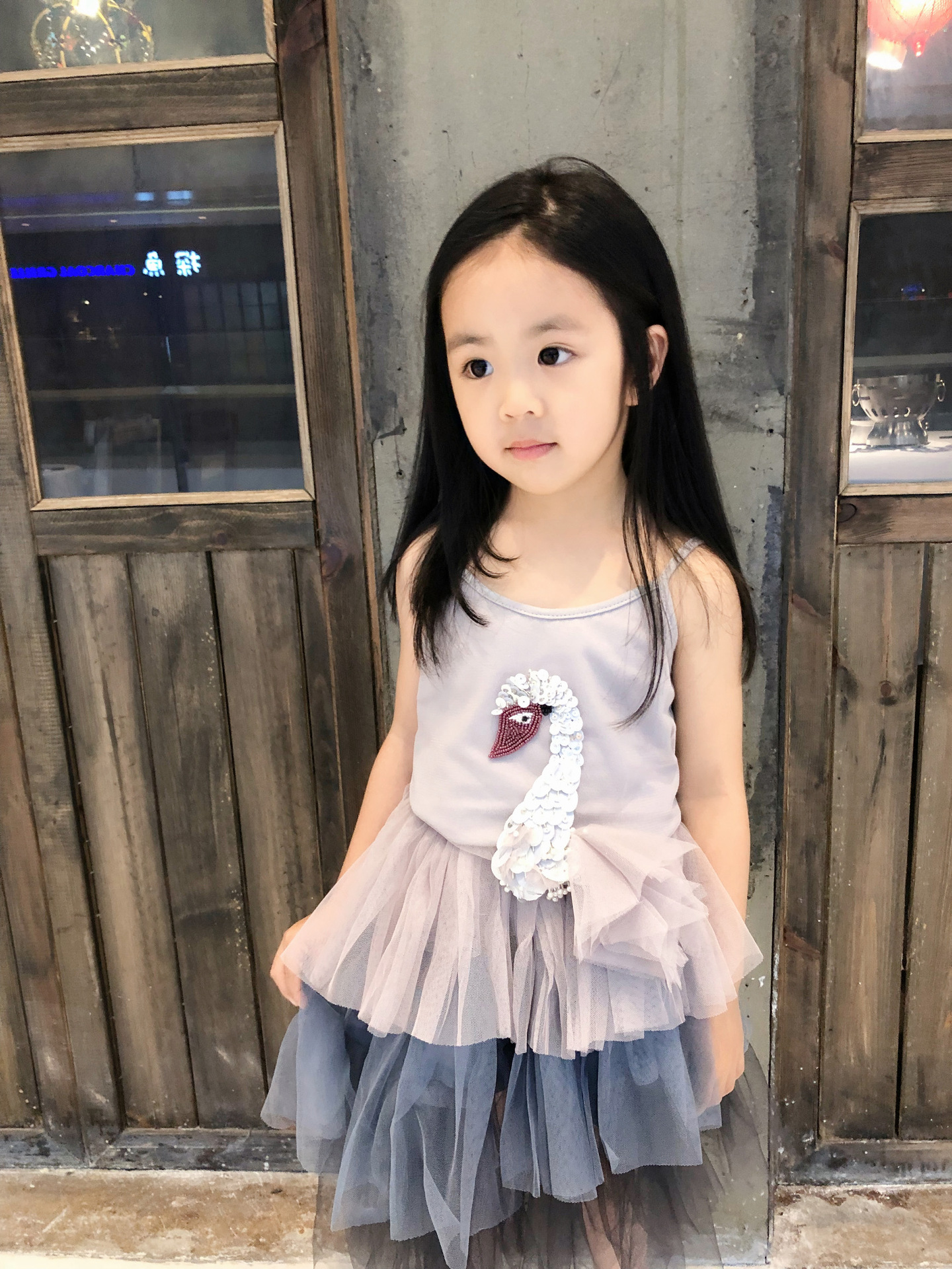 Girls Sequin Swan Outfit Toddler Sling Summer Vest and Swallowtail Fluffy Skirt 2 Pieces Girls Clothing