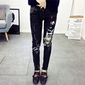 Americano Mujeres Moda Jean Bolsillos Impreso Vintage Negro Stretch Cremallera Agujero Pantalones Vaqueros de Las Mujeres QQLP319