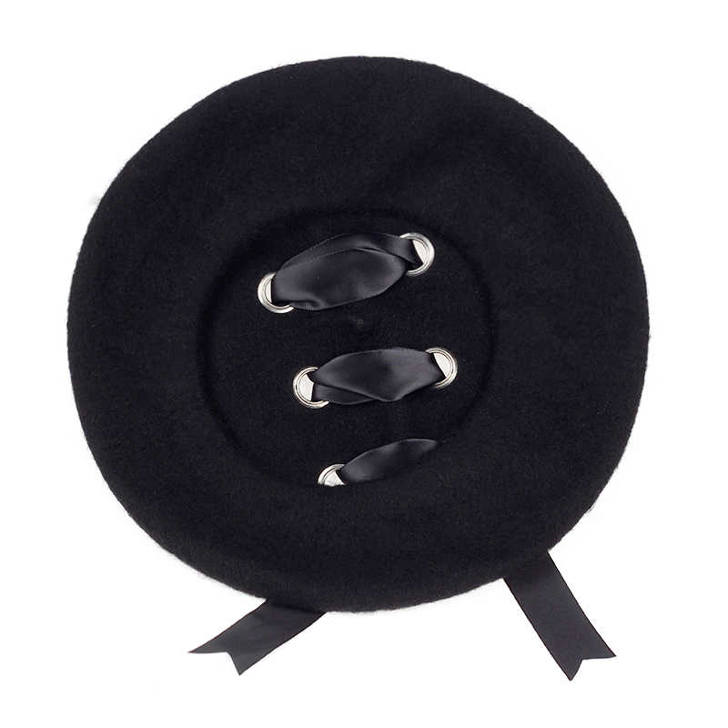 2017 جديد حار إمرأة الشتاء 100% الصوف قبعة القبعات الإناث كاب اليدوية حزام معبر القوس موزع الصحف القبعات للنساء الفنان كاب