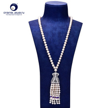 [YS] Fine Jewelry 8-9mm Natural White Freshwater Cultured Pearl Sweater Necklace For Women 65cm Length Free shipping