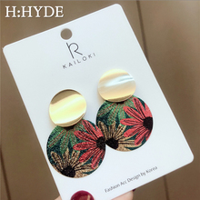 H:HYDE New Vintage Flower Round Wafer Statement Geometric Earrings For Women Fashion Jewelry Drop Earings Brincos