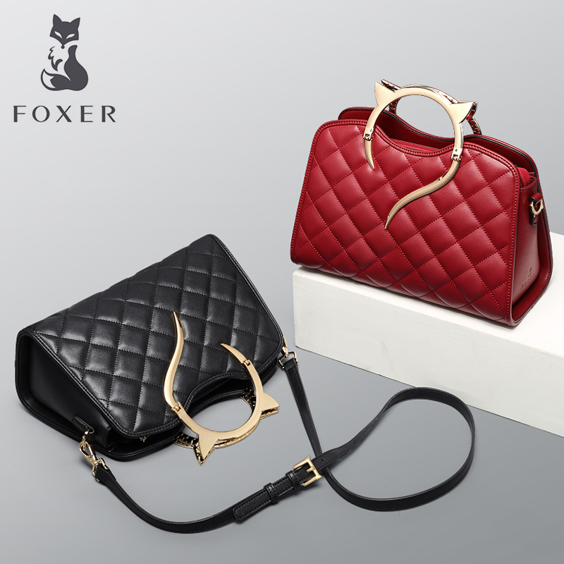 FOXER Brand Womens Leather Handbag&Crossbody Bag Fashion Female Totes Shoulder Bag High Quality Handbags New Trend Qulited Bag