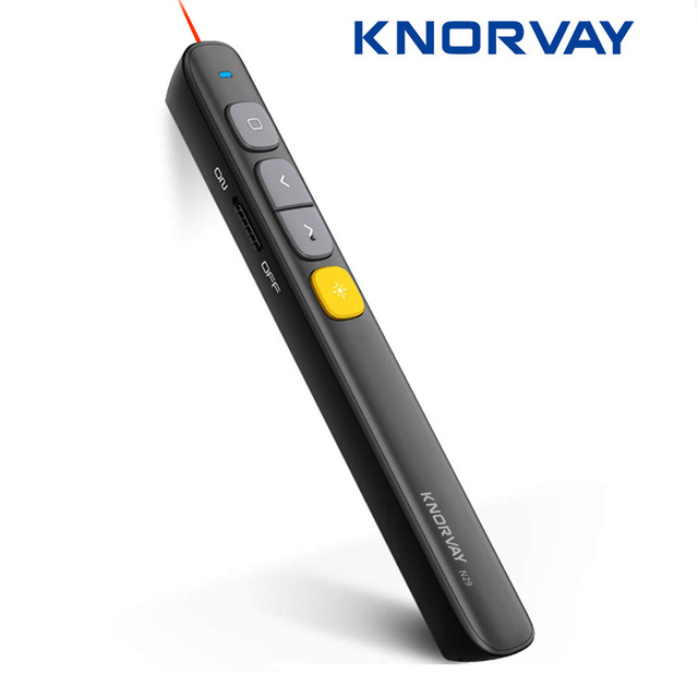 Knorvay N29 Wireless Presenter, RF 2.4GHz Powerpoint Presentation Remote Control PPT Clicker Presentation Laser Pen