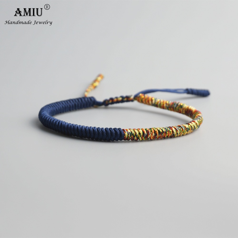 AMIU Tibetan Buddhist Lucky Charm Tibetan Bracelets & Bangles For Women Men Handmade Knots Lovers Rope Christmas Gift Bracelet