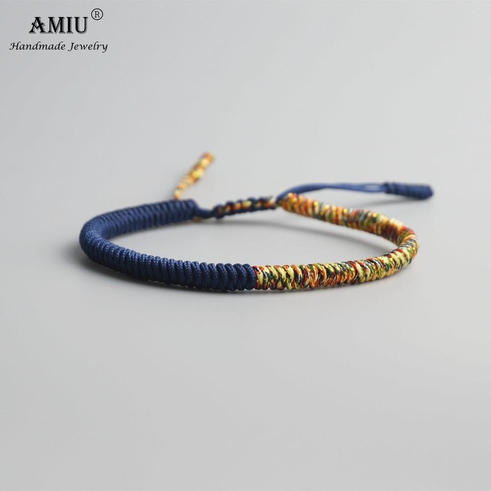 AMIU Tibetan Buddhist Lucky Charm Tibetan Bracelets & Bangles For Women Men Handmade Knots Lovers Rope Christmas Gift Bracelet