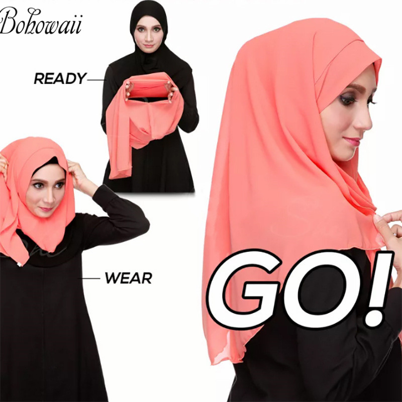 BOHOWAII Chiffon Head Scarf Instant Muslim Hijab Ready To Wear Islamic Hijab Cap For Ladies Underscarf