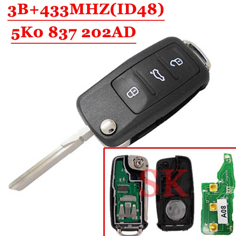 (1pcs )5K0 837 202AD 3 Button Remote Key 433MHz ID48 Chip For VW  GOLF PASSAT Tiguan Polo Jetta Beetle (1pc)