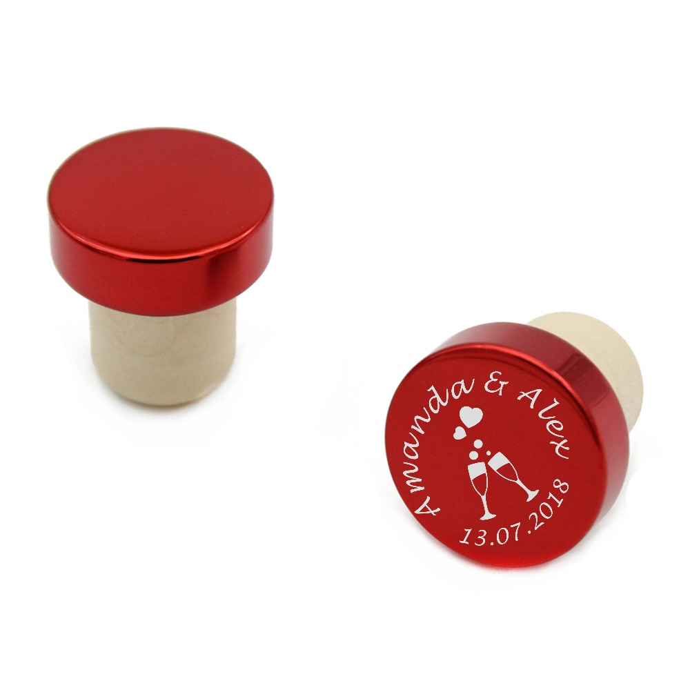 100pcs Personalized Engraved Wine Stoppers Metal Wine Cork Bottle T Stopper Wedding Party Decor Favor Bridal