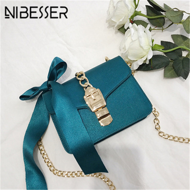 NIBESSER Luxury Messenger Bags Women Chains Designer Luxury Handbags Women Bags Ribbon Female Shopping Phone Hand Bags Sac Femme