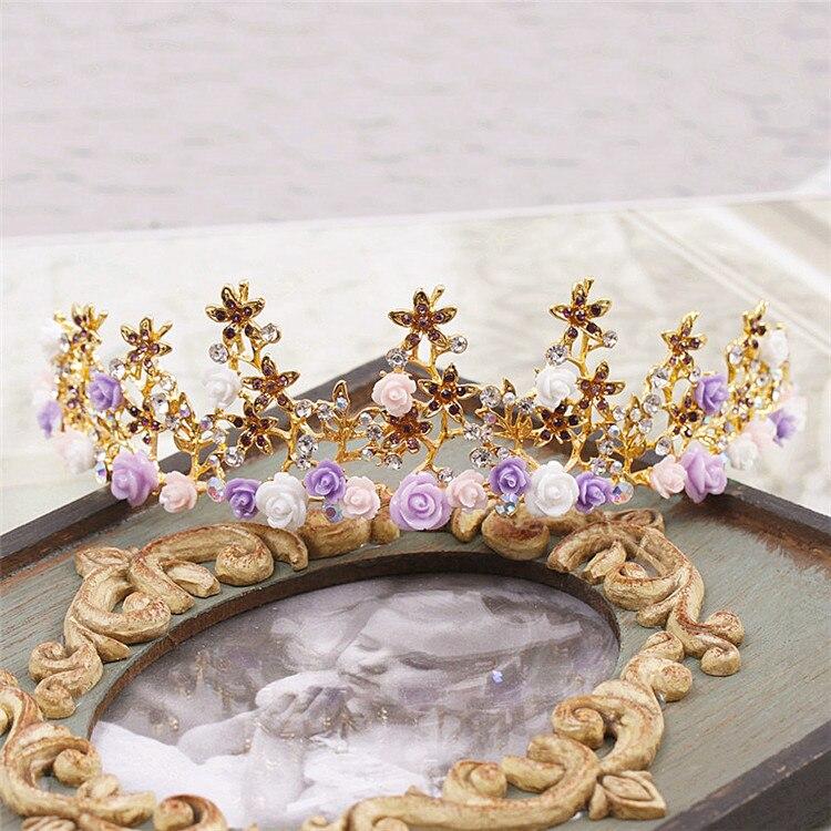 Bride Tiaras Color Purple Pink Ceremic Flower Rhinestone Princess And Crowns Wedding Hair Accessories
