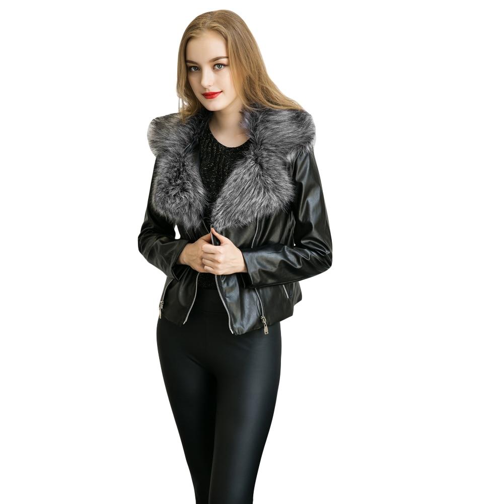 Plus Size Womens Leather Faux Fur Collar Coat Elegant Ladies PU Jacket Double Zipper Biker Jacket Slim Motorcycle Coat Outerwear plus size women in leather