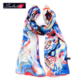SALUTTO 100% Silk Scarf Women Retro Painting Printing High Quality Spring Autumn   Paragraph Shawl Brand Echarpe Cachecol