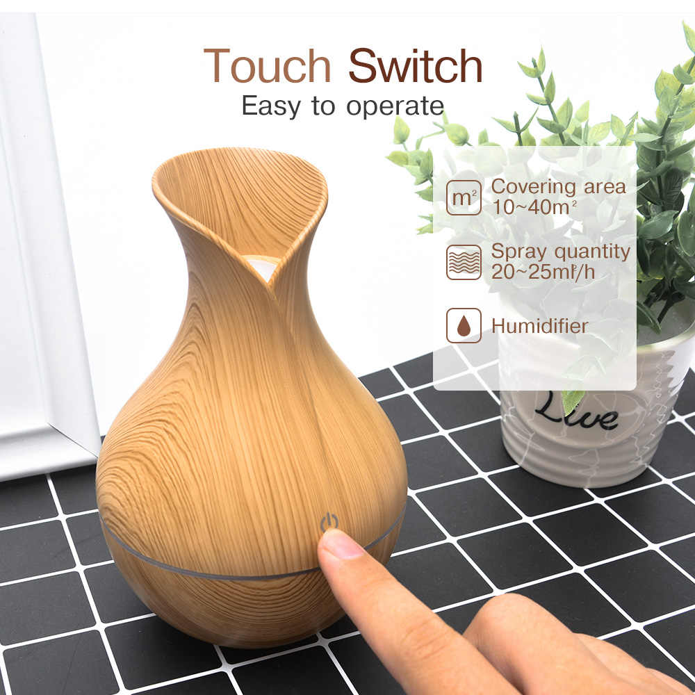 Mini humidificateur d'air électrique arôme ultrasonique diffuseur d'huile essentielle Grain de bois Cool brumisateur fabricant lumière LED Usb pour le bureau à la maison