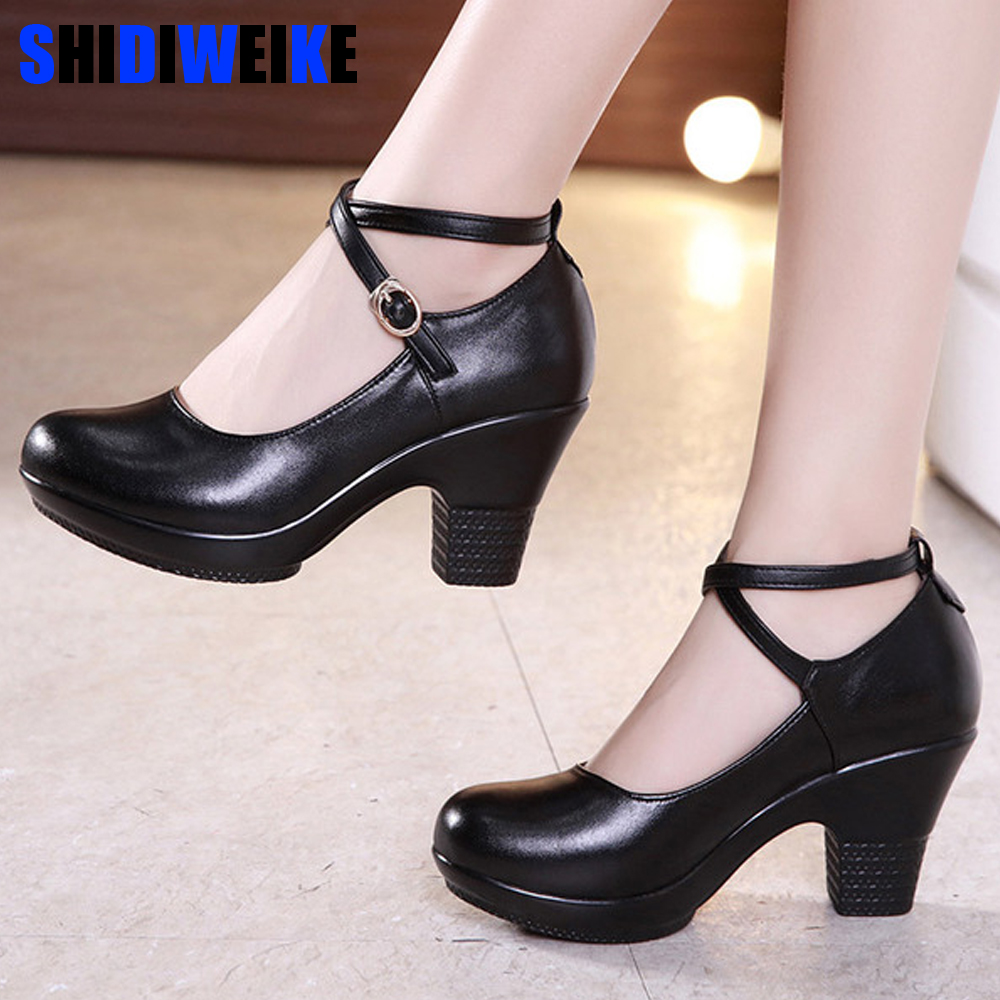 New 2019 Fashion Women Pumps With High Heels For Ladies Work Shoes Dancing Platform Pumps Women Genuine Leather Shoes Mary Janes
