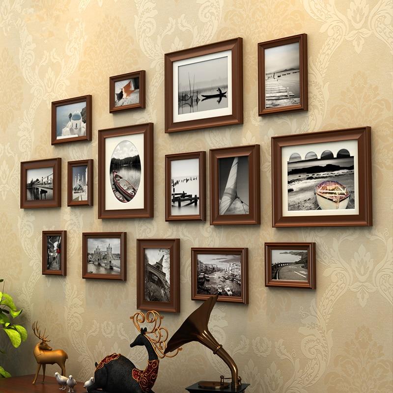europe style 15 pcsset picture framemarcos de fotoscollage wooden photo