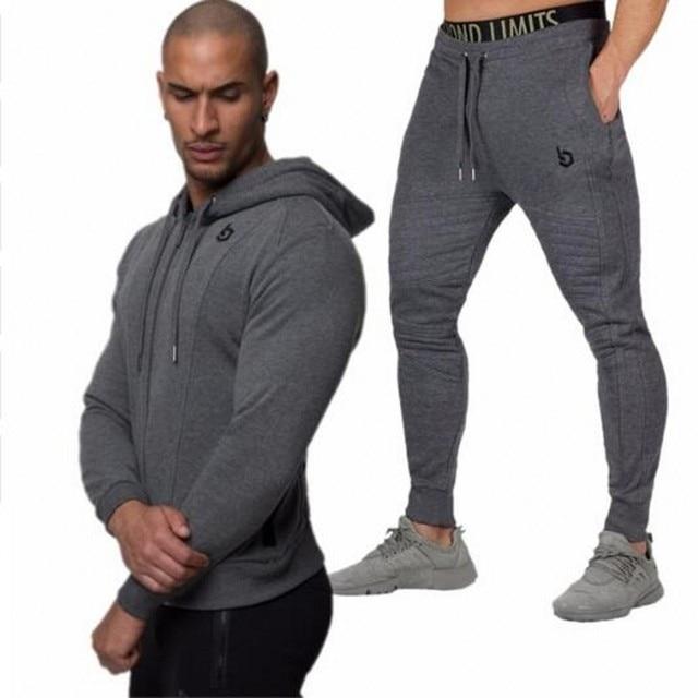 Gyms conjuntos de ropa deportiva de moda 2018 conjuntos de chándales  sudaderas con capucha para Hombre 3e57cc2f73cbf