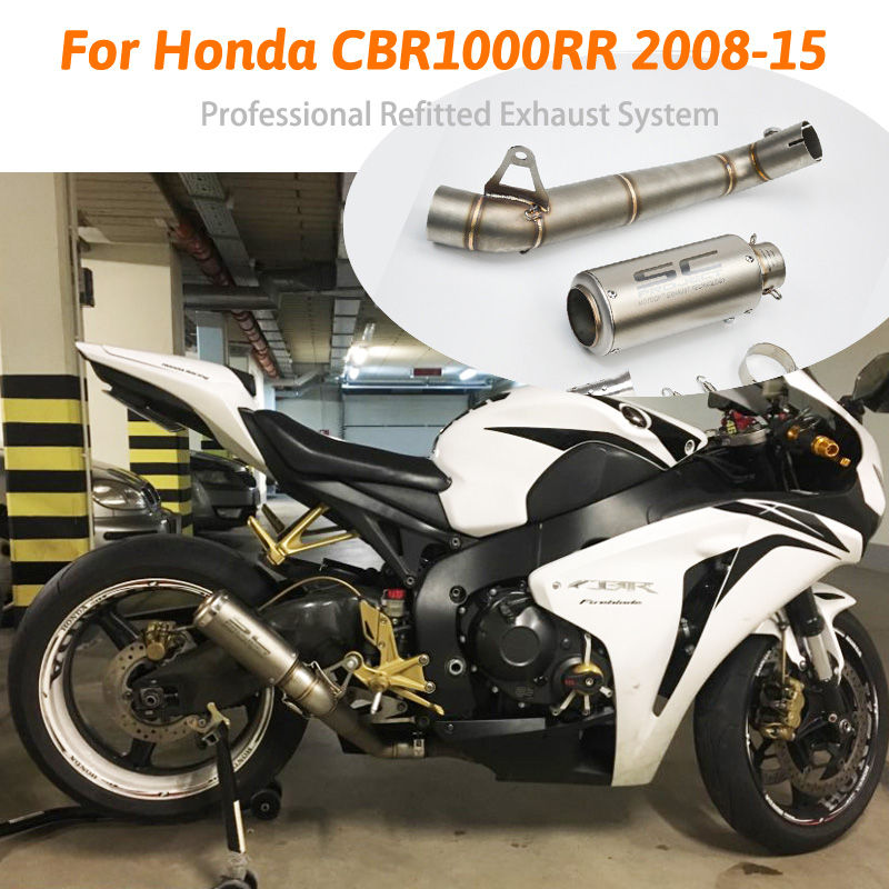 Slip CBR1000RR Motorcycle Exhaust System Pipe Exhaust Pipe Mid Middle Pipe Link Tubes Slip on Pipe For Honda CBR1000RR 2008 15|Exhaust & Exhaust Systems| |  - title=
