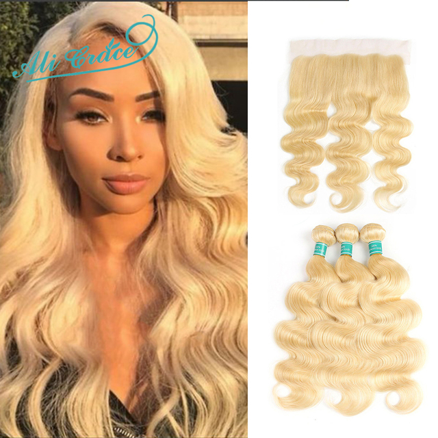 $ US $109.32 Ali Grace Hair Brazilian Body Wave 613 Blonde Bundles With Frontal 13*4 Ear to Ear Swiss Lace Frontal Remy Human Hair Weaving