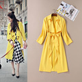 2016 Europe Autumn Winter Couture Lemon Yellow Tie Adjusting Waist Big Turn-down Collar Loose Coat