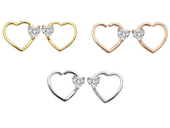 50pcs Body Jewelry Piercing - CZ Heart Nose Hoop Ring Ear Helix Daith Cartilage Tragus Earring Nose Septum Ring Bend Love Shine