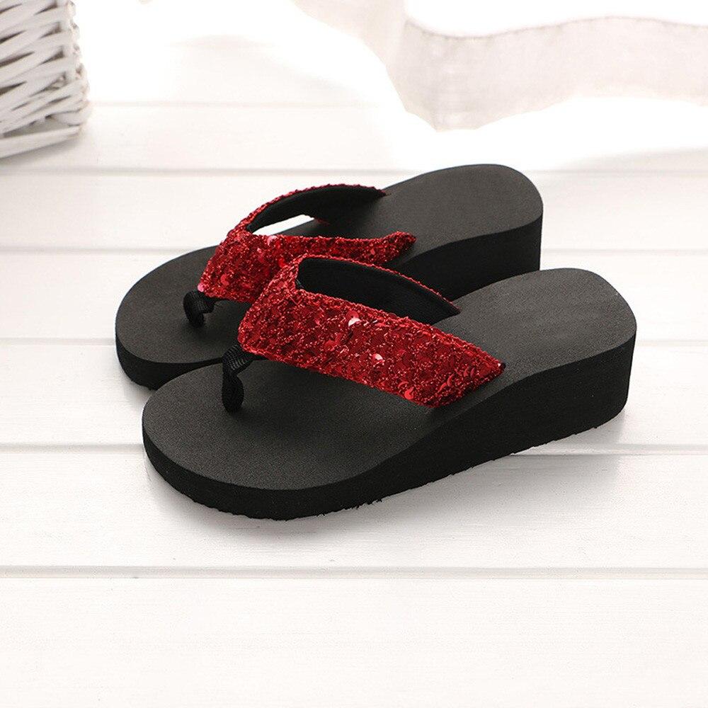HTB1Qe16cRGE3KVjSZFhq6AkaFXa1 Summer Women Flip Flops Casual Sequins Anti-Slip slippers Beach Flip Flat Sandals Beach Open Toe Shoes For Ladies Shoes #L5