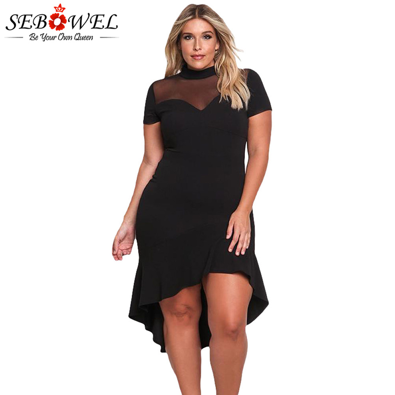 SEBOWEL Plus Size Sexy Black Mesh Club Dress Mujeres Sexy manga corta Mesh Dress Party Tamaño grande Fruncido Midi Dress XXXL Ropa