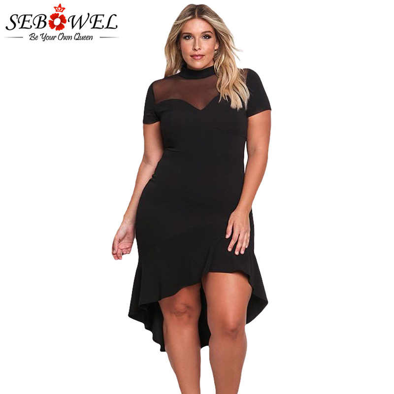 a87e808dfef SEBOWEL Plus Size Sexy Black Mesh Club Dress Women Sexy Short Sleeve Mesh Party  Dress Big