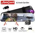 Автомобильный видеорегистратор  видеорегистратор  зеркало заднего вида  4 3 дюйма  FHD 1080 P  Dashcam  двойной объектив с камерой заднего вида  авто ...
