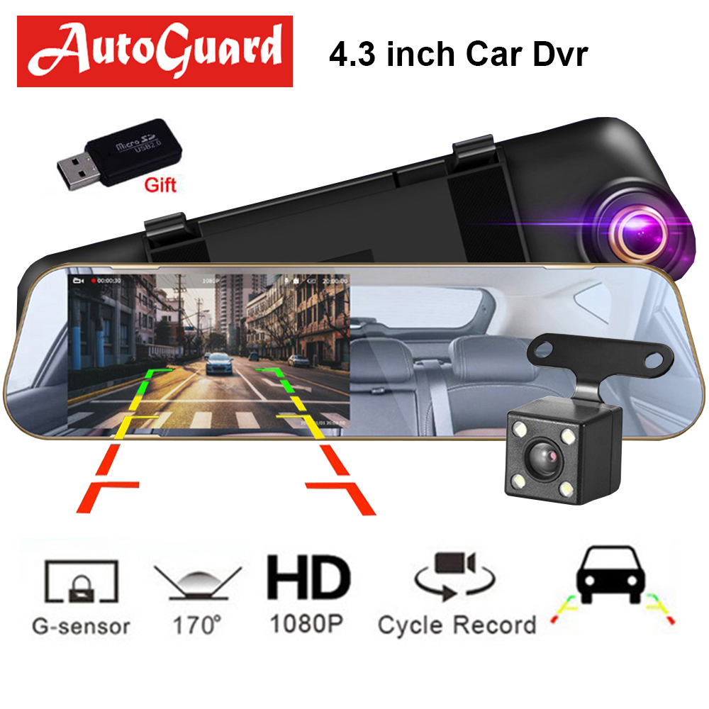 Car Dvr Dash Camera Video Recorder Rearview Mirror 4.3 Inch FHD 1080P Dashcam Dual Lens With Rear View Camera Auto Registrator