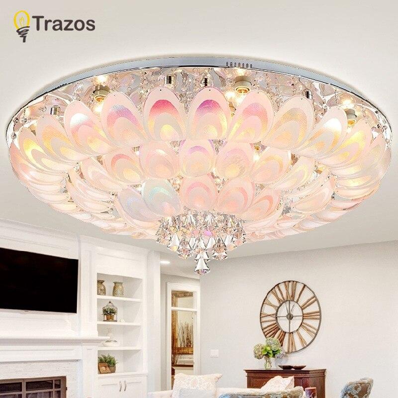Круглый потолочный светильник с павлиньим кристаллом для гостиной, спальни, современный светильник для помещений с пультом дистанционного