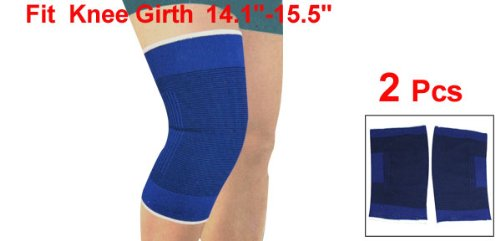 Hot Fitting Stretchy Black Blue Knee Sleeve Support Protector 2 Pcs