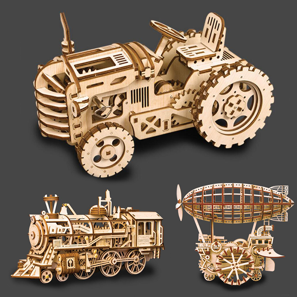 3 sortes de jouets éducatifs en bois jouets Puzzles pour enfants bricolage Laser coupe 3D modèle mécanique en bois Puzzle jeu assemblage jouet cadeau