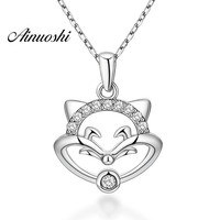 AINUOSHI Luxury 925 Sterling Silver Pendant Necklace for Women Animal Cute Fox Long Chain Necklace Wedding Silver Jewelry Gifts