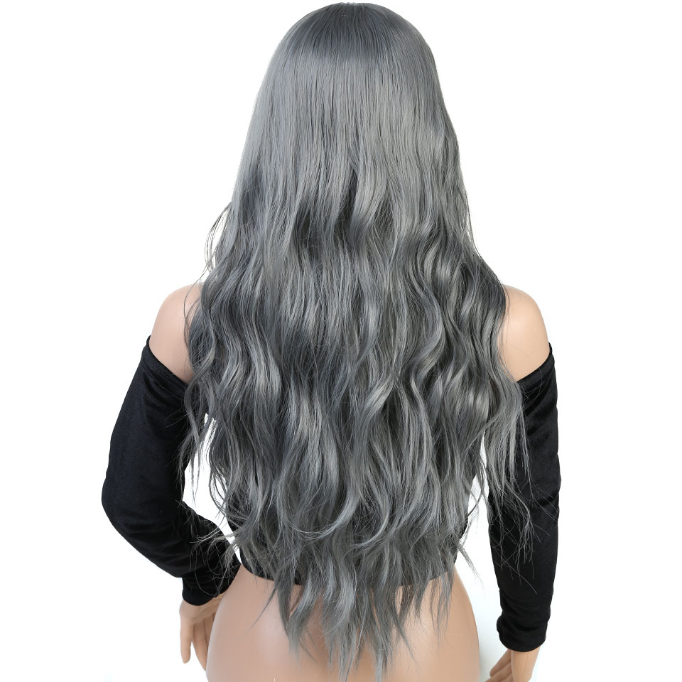 Pageup Wavy Hair Cosplay Long Wigs With Bangs For Women Ladies Heat Resistant Black Blue Blonde Pink Green Gray Synthetic Wig (6)