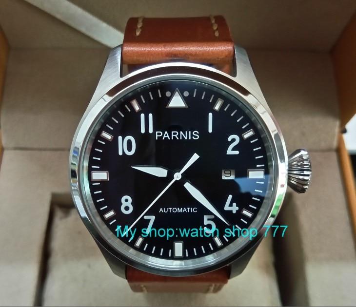 47mm big pilot PARNIS Black dial Automatic Self-Wind movement Auto Date men watches luminous Mechanical watches df70A
