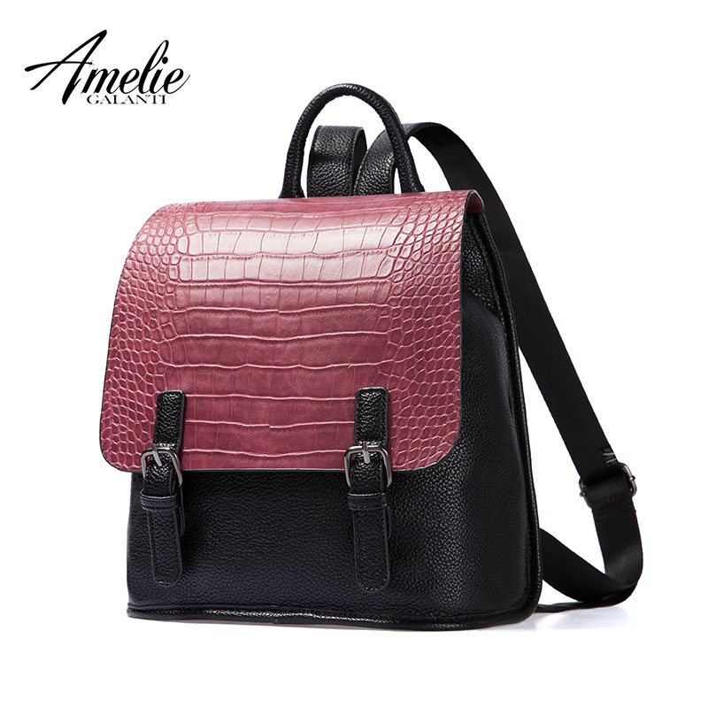 AMELIE GALANTI Women's Fashion Casual Backpack with Flap Crocodile PU Leather Simply Design Large School Bag with Zipper zipper front pu backpack with convertible strap