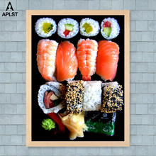 Japanese Food Sushi Posters Modern Restaurant Dining Hall Decoration Salmon Shrimp Canvas Prints Wall Mural Picture Home Decals(China)