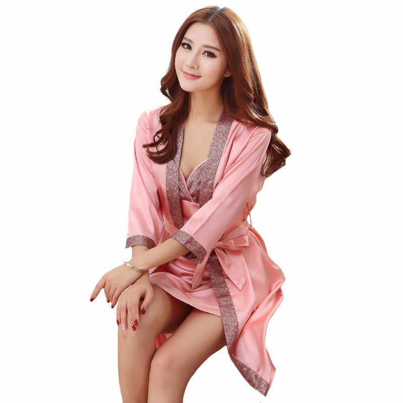 Hot Sale 2pcs Long Robe Set Satin Rayon Bathrobe For Women Kimono Bath Gown  Sleepwear Nightwear 56bfaa22c