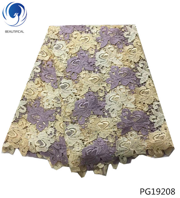 Beautifical cheap guipure lace fabric 2018 high quality african cord lace fabrics with stones for women dresses 5yards/lot PG192