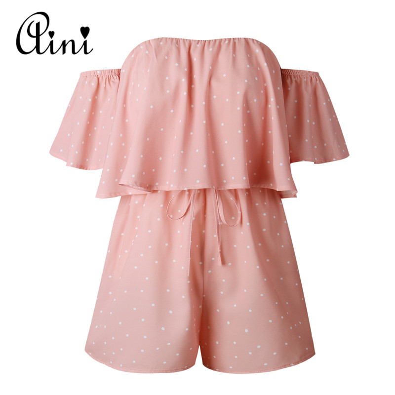 WAQIA Summer 2018 Women Playsuit Print Rompers Ruffles Sleeve Jumpsuit Backless Sexy Overall Casual Beach Boho bodysuit overalls