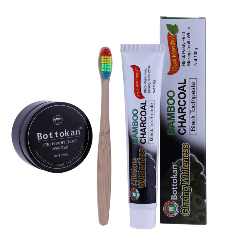 Buy now 3pcs Teeth Whitening Set Bamboo Charcoal Toothpaste+Natural Teeth